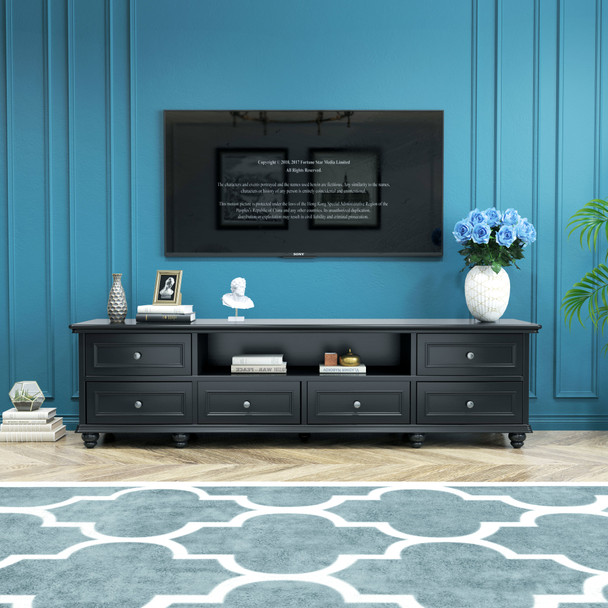 Beata 2m American country style TV unit in black