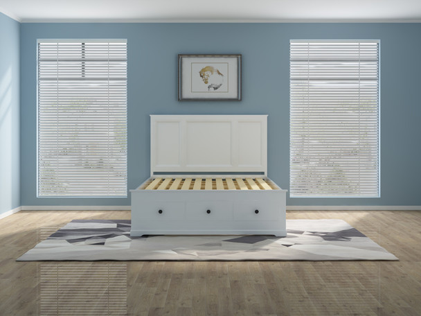 Brand new Cardinia wooden bed in white