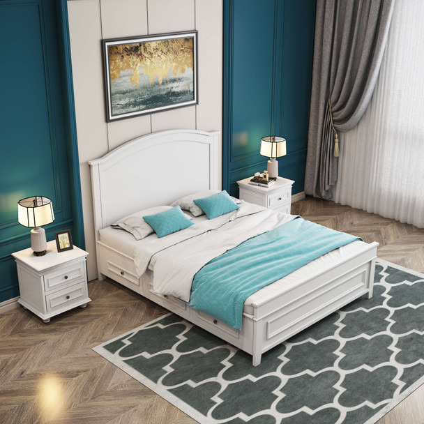 Brand new Beata wooden bed in white
