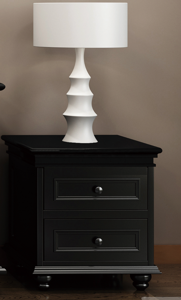 Beata Bedside w/ 2 Drawers in black finish