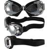 Hot Rod Shiny Chrome Black Leather Silver Mirror Lenses