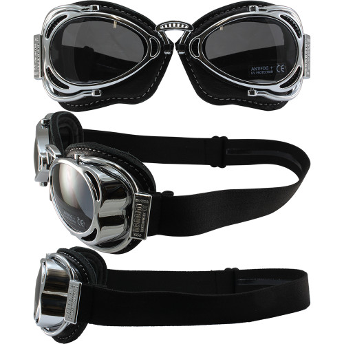 Hot Rod Shiny Chrome Black Leather Smoke Lenses