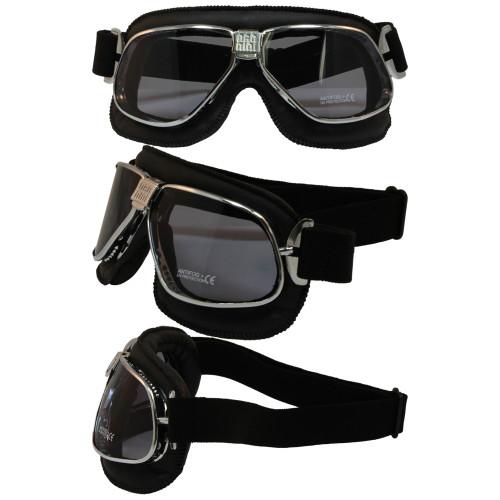 Matte Chrome Black Leather Smoke Lenses 6200