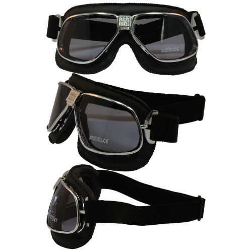Matte Chrome Black Leather Smoke Lenses 6200