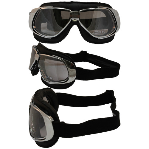 Chrome frame black leather smoke mirror lenses