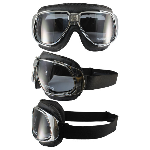 Chrome frame black leather smoke lenses