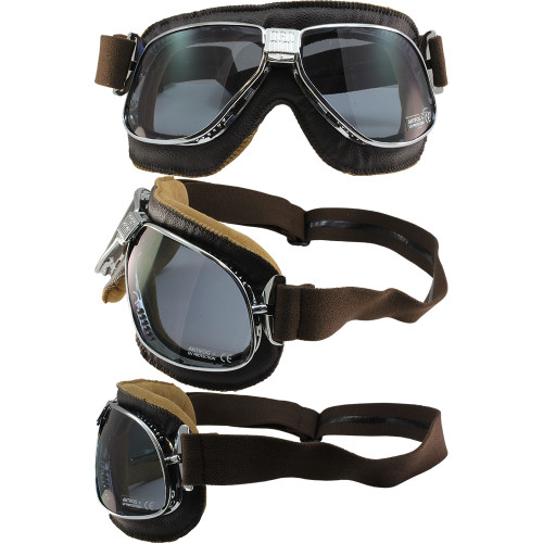 Chrome frame Brown leather Smoke lenses