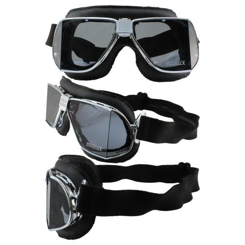 Matte Chrome Black Leather Smoke Lenses