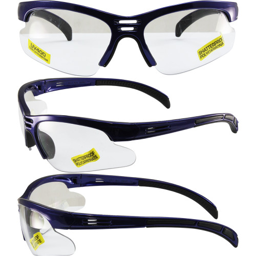 Trigger Safety Glasses Blue Frame with Clear Lens