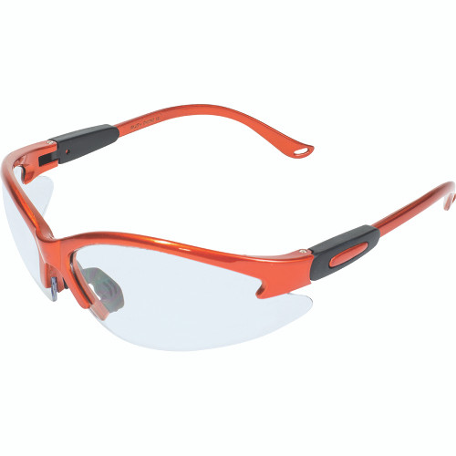 Contender Safety Glasses Red with Clear Lenses