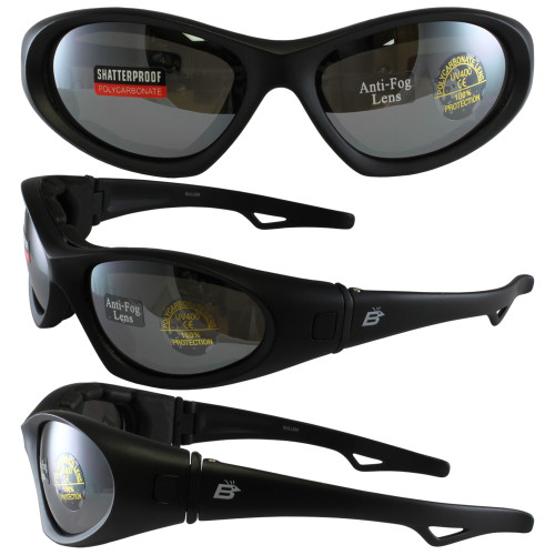 GULL BLACK FRAME SMOKE MIRROR ANTIFOG LENSES W/EVA FOAM