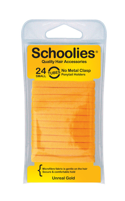 SCHOOLIES METAL FREE PONY TAIL HOLDERS 24 PK - UNREAL GOLD