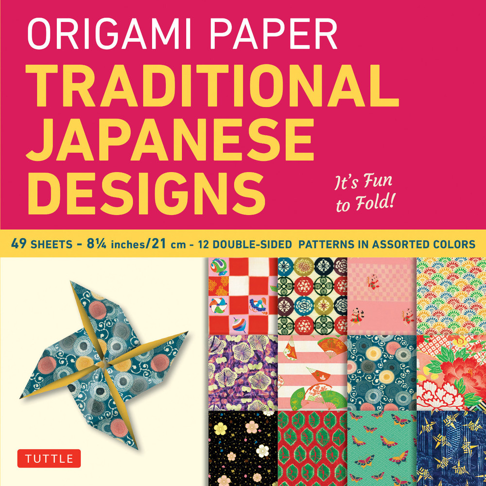 """Origami Paper - Traditional Japanese Designs - Large 8 1/4"""""""