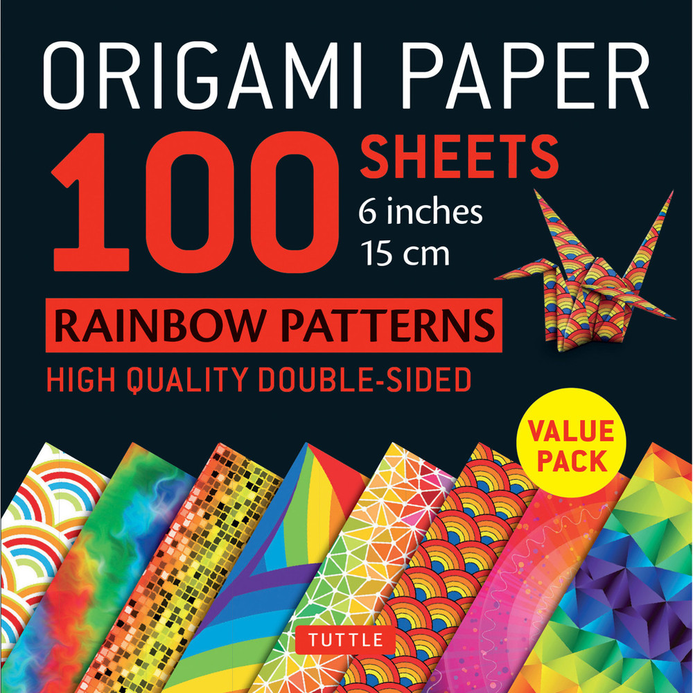 """Origami Paper - Rainbow Patterns - 6"""" Size - 100 Sheets"""
