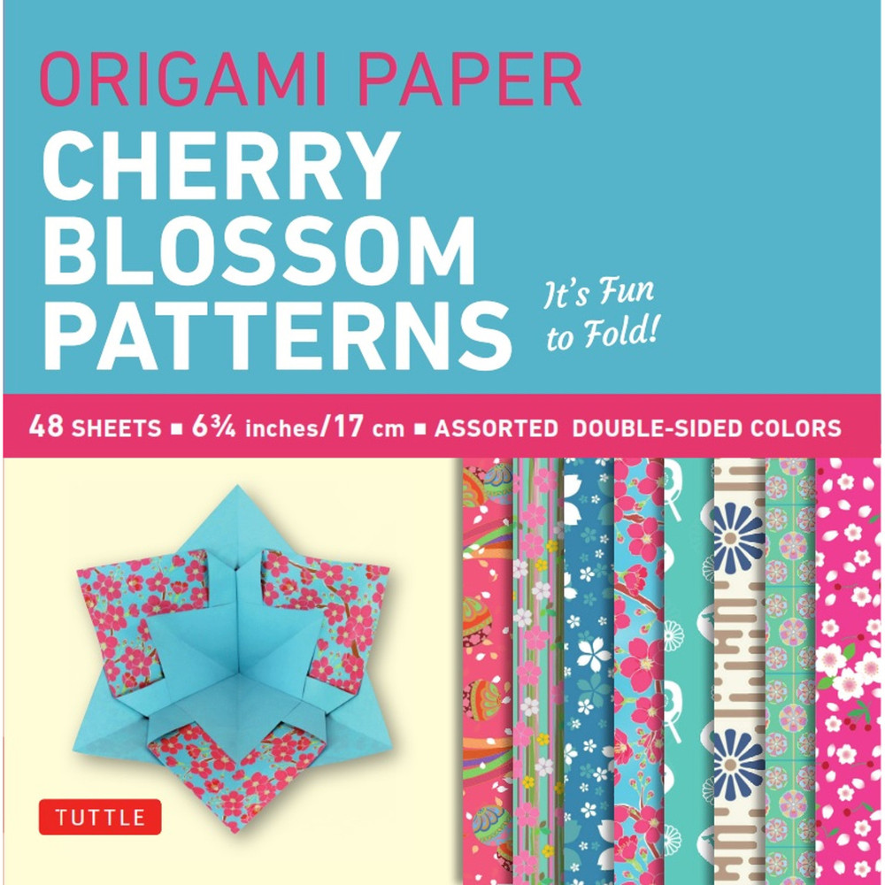 """Origami Paper- Cherry Blossom Prints- Small 6 3/4"""" 48 sheets"""