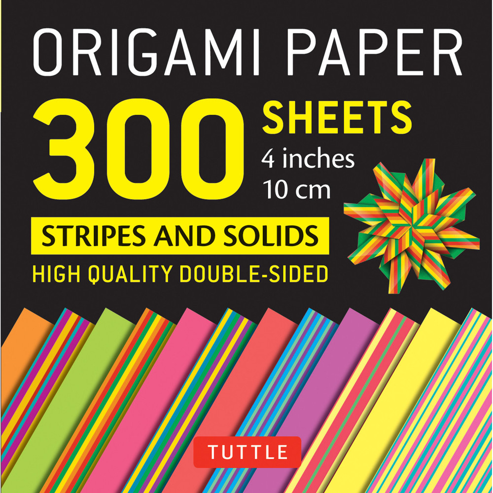 """Origami Paper 300 sheets Stripes and Solids 4"""" (10 cm)"""
