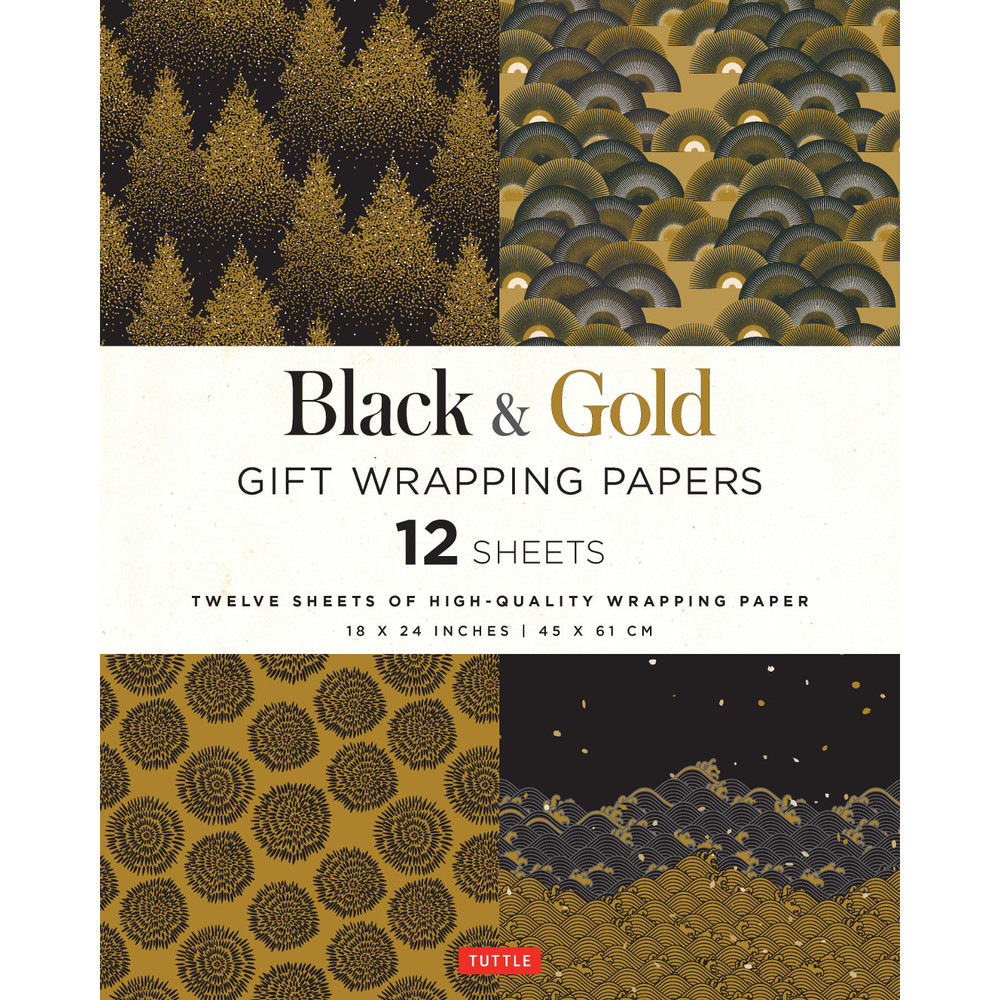 Black & Gold Gift Wrapping Papers 12 Sheets