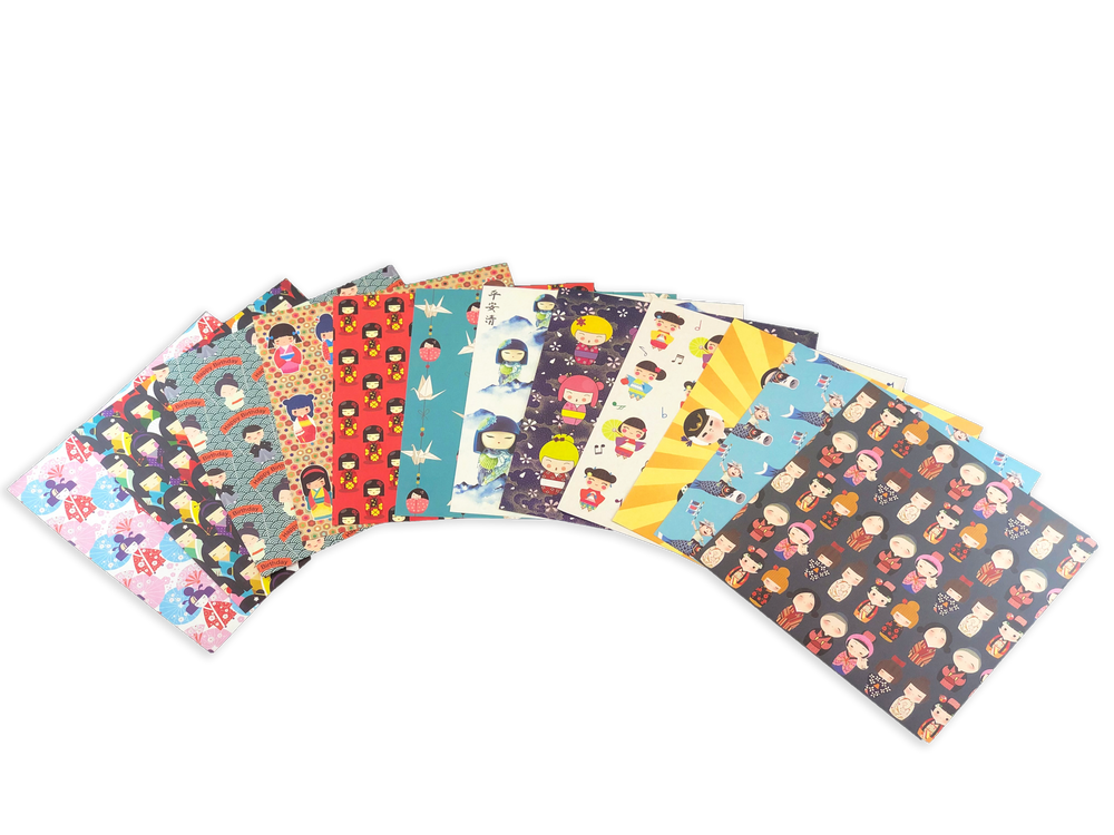 "Origami Paper 200 sheets Japanese Dolls 6"" (15 cm)"