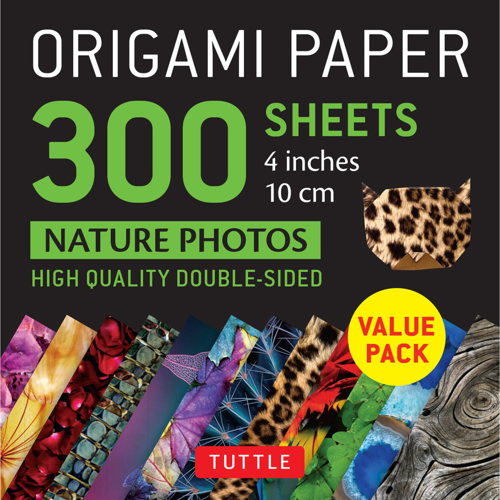 """Origami Paper 300 sheets Nature Photo Patterns 4"""" (10 cm)"""