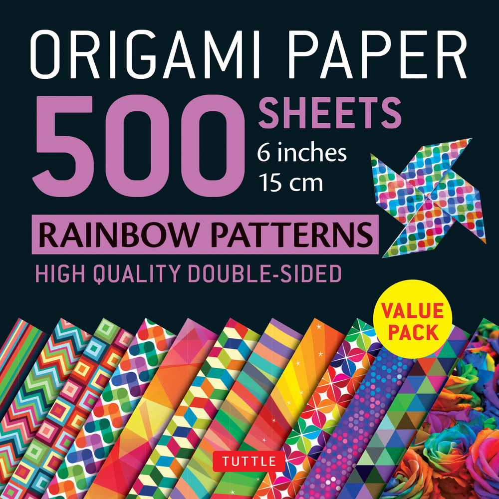 """Origami Paper 500 sheets Rainbow Patterns 6"""" (15 cm)"""