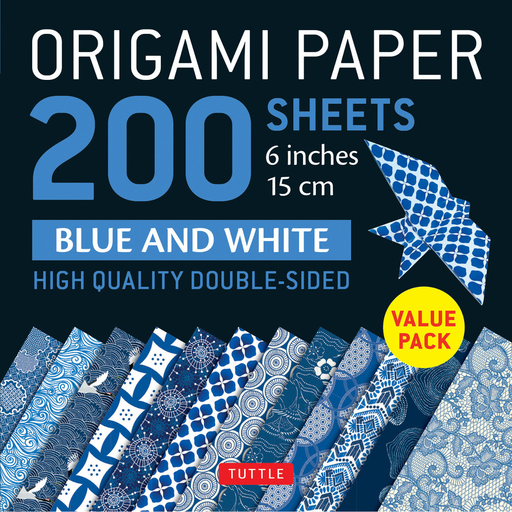 "Origami Paper 200 sheets Blue and White Patterns 6"" (15 cm)"