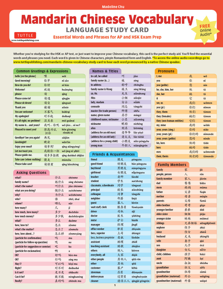 Mandarin Chinese Vocabulary Language Study Card