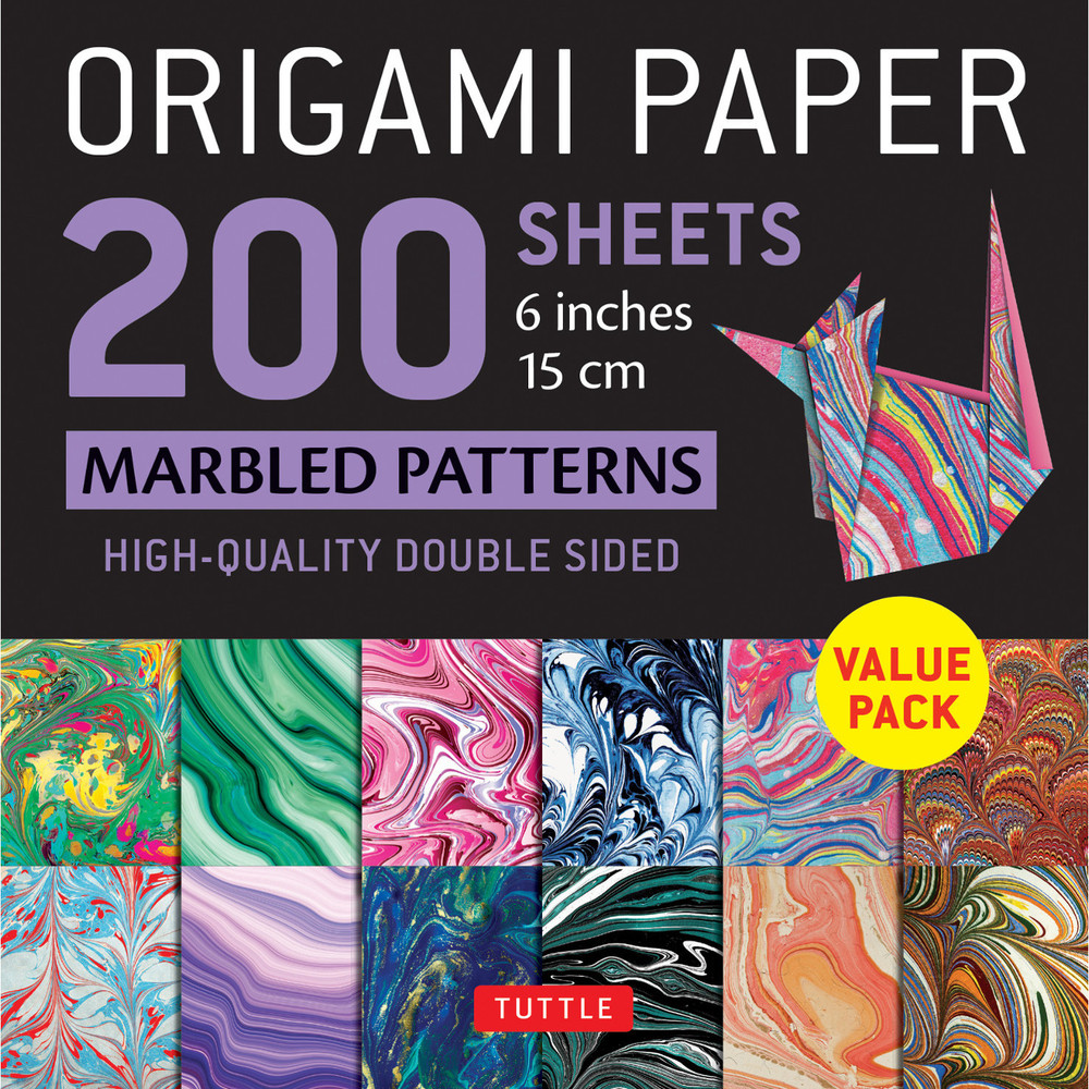 """Origami Paper 200 sheets Marbled Patterns 6"""" (15 cm)"""