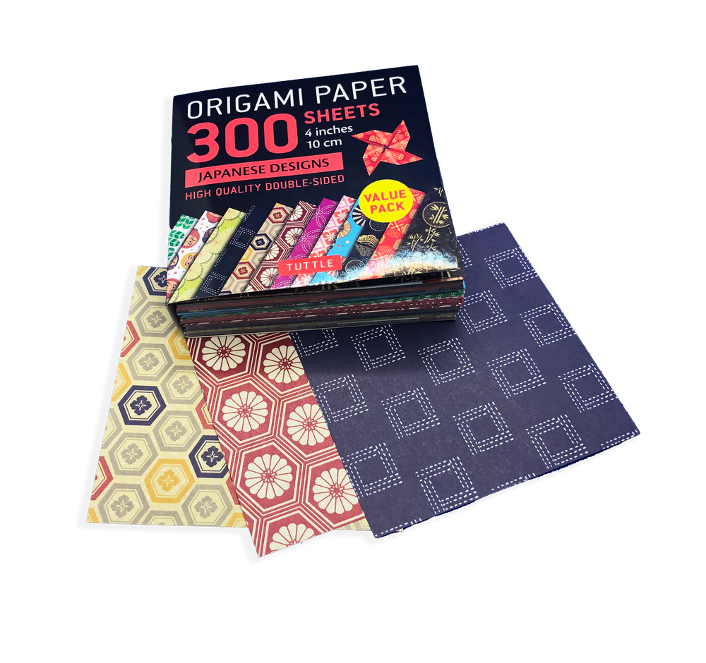 """Origami Paper 300 sheets Japanese Designs 4"""" (10 cm)"""