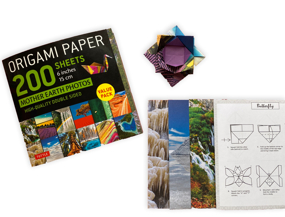 """Origami Paper 200 sheets Mother Earth Photos 6"""" (15 cm)"""