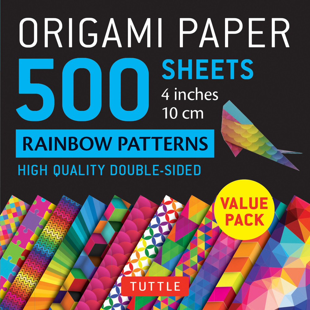 """Origami Paper 500 sheets Rainbow Patterns 4"""" (10 cm)"""