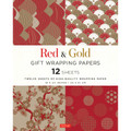 Red & Gold Gift Wrapping Papers 12 Sheets