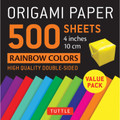 "Origami Paper 500 sheets Rainbow Colors 4"" (10 cm)"