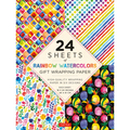 24 sheets of Rainbow Watercolors Gift Wrapping Paper