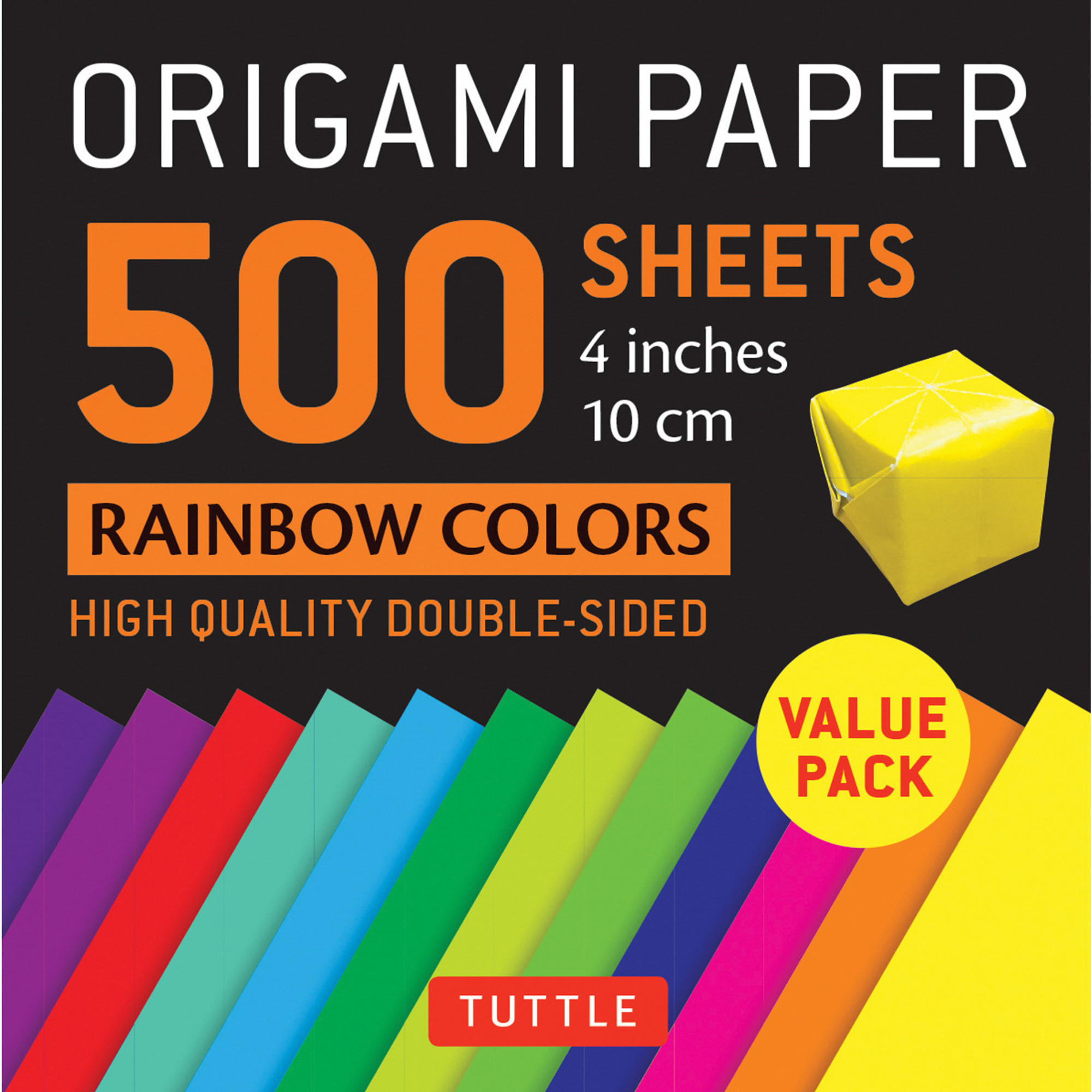 Origami Paper 500 sheets Rainbow Colors 4 10 cm Tuttle Origami Paper High-Quality Double-Sided Origami Sheets Printed with 12 Different Color Combinations