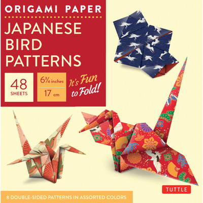 """Origami Paper - Japanese Bird Patterns - 6 3/4"""" - 48 Sheets"""
