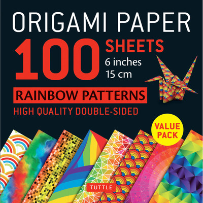 "Origami Paper - Rainbow Patterns - 6"" Size - 100 Sheets"