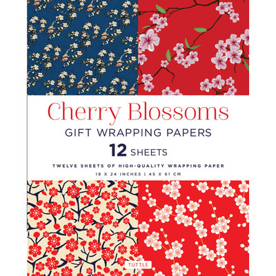 Cherry Blossoms Gift Wrapping Papers 12 Sheets