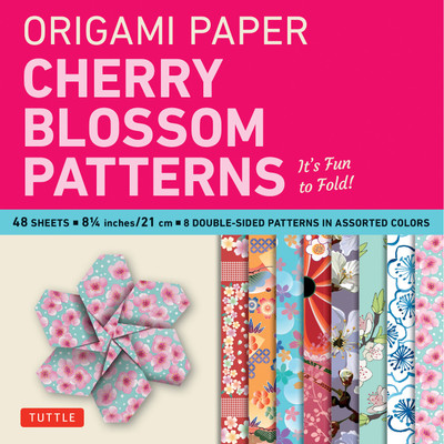 "Origami Paper- Cherry Blossom Patterns Large 8 1/4"" 48 sh"