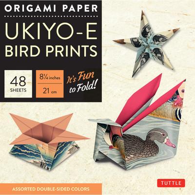 "Origami Paper 8 1/4"" (21 cm) Ukiyo-e Bird Print 48 Sheets"