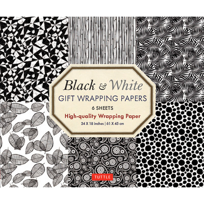 Black & White Gift Wrapping Papers 6 sheets