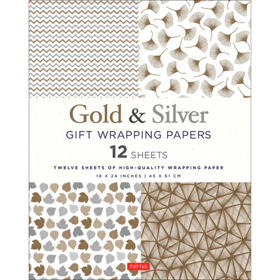 Gold & Silver Gift Wrapping Papers - 12 Sheets