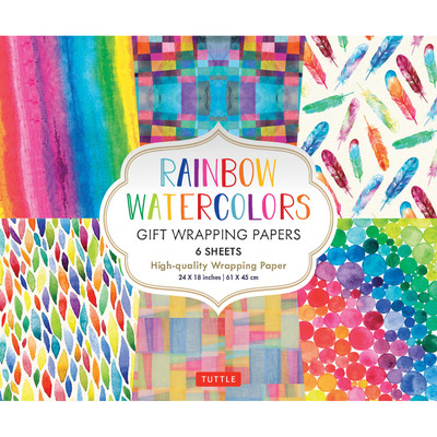 Rainbow Watercolors Gift Wrapping Papers 6 sheets