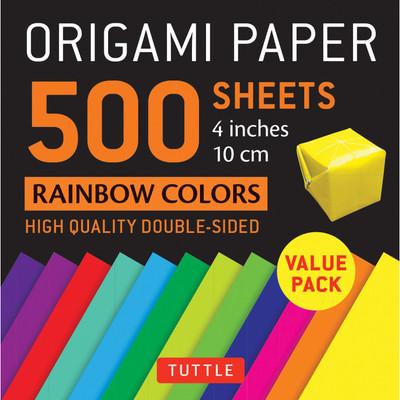 "Origami Paper 500 sheets Rainbow Colors 4"" (10 cm)"