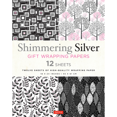 Shimmering Silver Gift Wrapping Papers - 12 Sheets