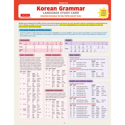 Korean Grammar Language Study Card