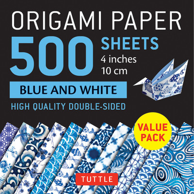 "Origami Paper 500 sheets Blue and White 4"" (10 cm)"