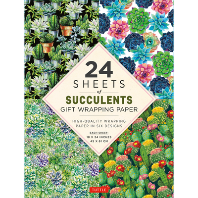 24 sheets of Succulents Gift Wrapping Paper