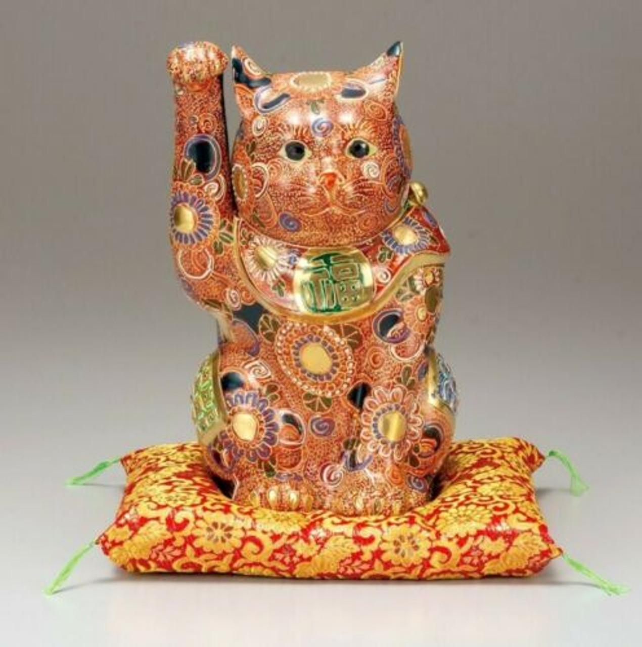 Excellent Japanese lucky cat Maneki neko Kutani yaki porcelain Mori art Japan