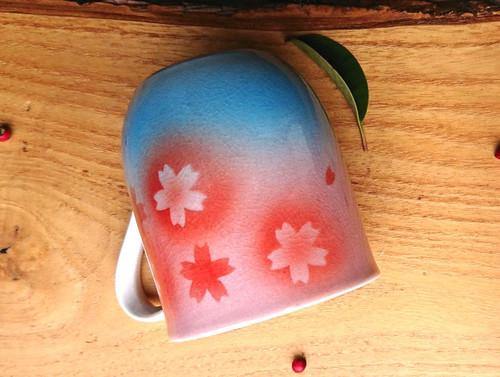 Kutani yaki ware Japanese Mug Tea Coffee cup Sakura cherry blossom made in Japan