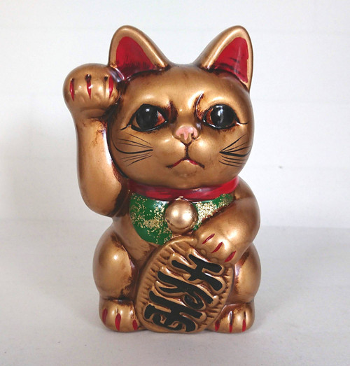 Maneki neko Coin Bank Tokoname yaki Gold Japanese Lucky cat Traditional Right hand Japan